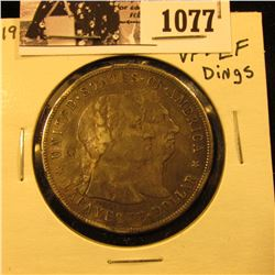 1077 . 1900 Lafayette Silver Commemorative Dollar, VF-EF but with rim dings, bends, dents, and etc.