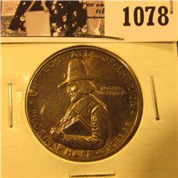 1078 . 1920 Pilgrim Commemorative Silver Half-Dollar, nicely toned AU58.