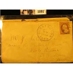 1091 . August 27, 1860 Burlington, Iowa Civil War Cover with postage stamp and cancel.