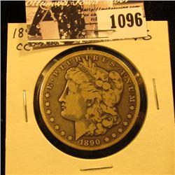 1096 . 1890 CC U.S. Morgan Silver Dollar, VG.