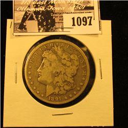 1097 . 1891 CC U.S. Morgan Silver Dollar, Fine.