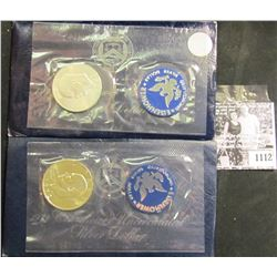 1112 . 1971 S & 1972 S Uncirculated Silver Eisenhower Dollars In Original blue Government Packaging