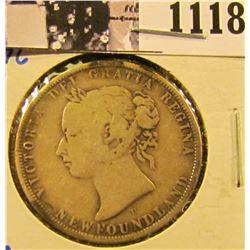 1118 . 1876-H Newfoundland Silver Half Dollar.
