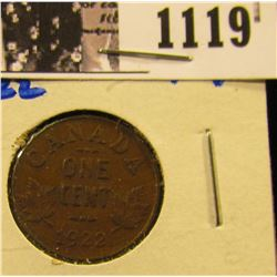 1119 . 1922 Canadian Penny, Key Date