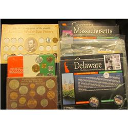 "1125 . 1986 Mexican Coin Set, BU (7 piece); British Coin Set, cracked case, BU Coins, (12 piece); ""T"
