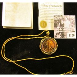 1126 . Gold Enhanced Walking Liberty Half Dollar Made Into A Pendant With Chain