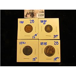 1128 . 1870 Two Cent Piece, 1839-O Seated Dime, 1878 Seated Quarter, & 1909 Indian Head Penny