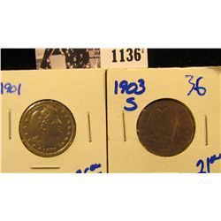1136 . 1901 P & 1903-S Barber Quarter