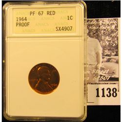 1138 . 1964 P Memorial Proof Penny Graded Proof 67 Red By ANACS