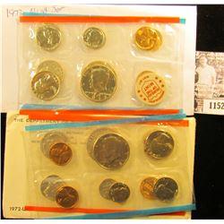 1152 . Pair of 1972 U.S. Mint Sets, both in original cellophane, one in original envelope.