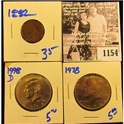 1154 .1978 P BU & 98 D BU KENNEDY HALF DOLLARS; & 1882 INDIAN HEAD CENT, VG