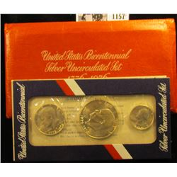1157 . 1976 U.S. Bicentennial Three-Piece Silver Uncirculated Set in original envelope as issued.