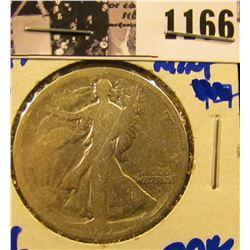 1166 . 1917-D Obverse Mint Mark Walking Liberty Half Dollar