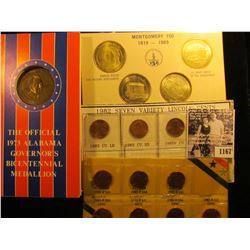 1167 . (2) Sets of 7 Varieties 1982 Memorial Pennies; The Official Alabama Bicentennial medallion wi