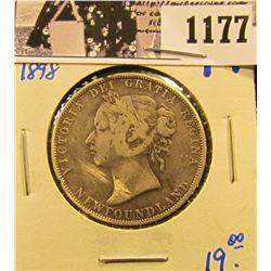 1177 . 1898 Newfoundland Silver Half Dollar
