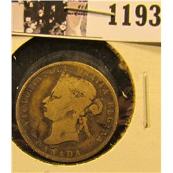 1193 . 1872-H Silver Canadian Quarter