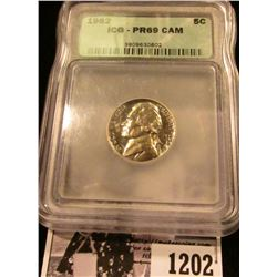 1202 . 1962 Jefferson Nickel Graded Proof 69 Deep Cameo By ICG