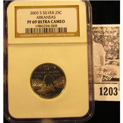 1203 . 2003-S Silver Arkansas Quarter Graded Proof 69 Ultra Cameo By NGC