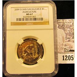 1205 . 2009-D Sacagawea Dollar Agriculture Graded Ms 67 By NGC
