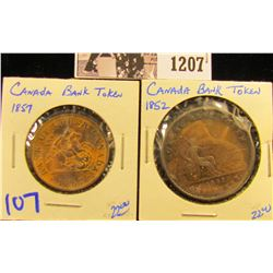 1207 . 1852 Quebec Canadian Bank Token & 1857 Upper Bank Token Half Penny