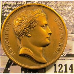 "1214 . French Medal With Napolean Bonaparte On The Front.  On The Reverse It Says ""Entered Moscow Se"