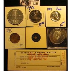 1219 . Jimmy Carter Inaugural Token; 1933 VFW Help The Kiddies Good Luck Token; Mini Penny; Veterans