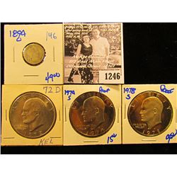 1246 . 1894-O Semi Key Date Barber Dime With Damage; 1974-S Proof Ike Dollar; 1978-S Proof Ike Dolla
