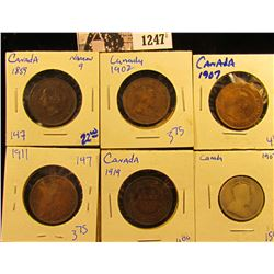 1247 . 1859 Canadian Large Cent, Narrow 9 Variety; 1907 Canadian Silver Quarter; 1902, 07, 11, & 19