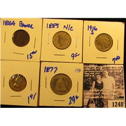 1248 . 1883 V Nickel With No Cents; 1864 Indian Head Penny; 1916-S Semi Key Date Buffalo Nickel; Abr