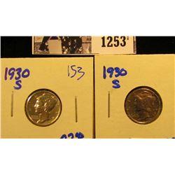 1253 . (2) 1930-S Mercury Dimes