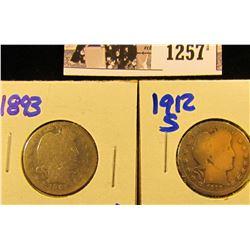1257 . 1912-S & 1893 P Barber Quarters