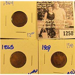 1258 . 1864, 1865, & 1909 Indian Head Pennies