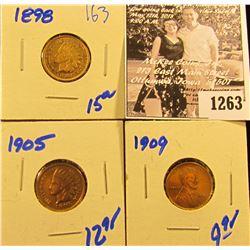 1263 . 1898 Indian Head Penny, 1905 Indian Head Penny, & 1909 Wheat Penny
