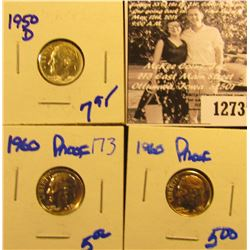 1273 . (2) 1960 Proof Roosevelt Dimes And 1950-D Roosevelt Dime