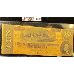1284 . Ten Dollar Confederate States of America Civil War Note From Richmond, Virginia Dated Feb. 17