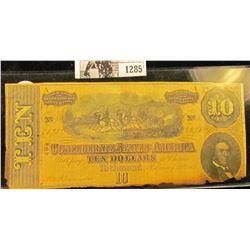 1285 . Ten Dollar Confederate States of America Civil War Note From Richmond, Virginia Dated Feb. 17