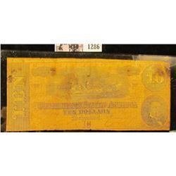 1286 . Ten Dollar Confederate States of America Civil War Note From Richmond, Virginia Dated Feb. 17