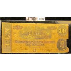 1287 . Ten Dollar Confederate States of America Civil War Note From Richmond, Virginia Dated Feb. 17