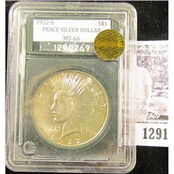 1291 . 1922-S Peace Dollar  High grade.