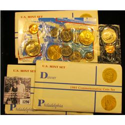 1296 . (3) 1985 Denver & Philadelphia Commemorative Coin Sets with medals. Gem BU.