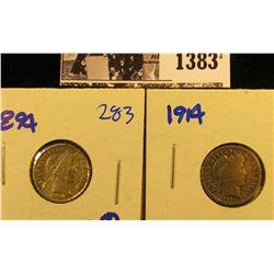 1383 . 1894 P & 1914 P Barber Dimes