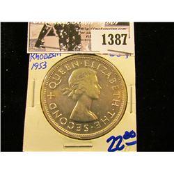 1387 . 1953 Southern Rhodesia Silver Crown