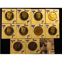 1389 . 1979S, 83S, 84S, (2) 88S, (2) 89S, 91S, 2005S, & 2007 S Proof Kennedy Half Dollars Lot