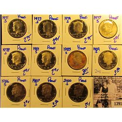 1391 . 1971S, 73S, 74S, 77S, 78S, 81S, 84S, 86S, 87S, & 2000S Proof Kennedy Half Dollars