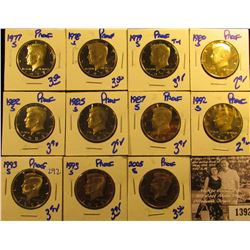 1392 . 1977S, 78S, 79S, 80S, 82S, 85S, 87S, 92S, (2) 93S, & 2005S Proof Kennedy Half Dollars.