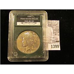 "1399 . 1928 P U.S. Peace Silver in a slabbed holder from ""Double Eagle Assets"" where they labeled it"