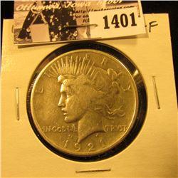 1401 . 1921 P U.S. Peace Silver Dollar, VG-Fine.