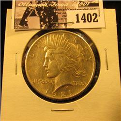 1402 . 1921 P U.S. Peace Silver Dollar, VF.