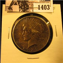 1403 . 1921 P U.S. Peace Silver Dollar, EF.