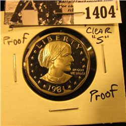 1404 . 1981 S Susan B. Anthony Proof Dollar.